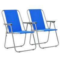 vidaXL Cadeiras de campismo dobráveis 2 pcs 52x59x80 cm azul
