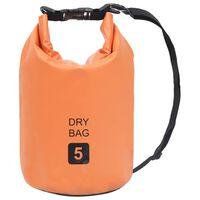 vidaXL Bolsa impermeável 5 L PVC laranja