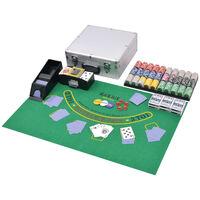vidaXL Conjunto de póquer/blackjack com 600 fichas em alumínio