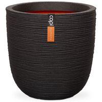 Capi Vaso oval Nature Rib 35x34 cm preto KBLR932