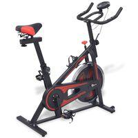 vidaXL Bicicleta de spinning c/ sensores de pulso, preto e vermelho
