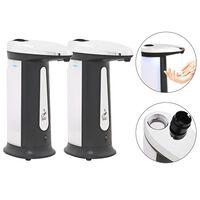 vidaXL Dispensador autom. sabão 2 pcs sensor infraverm. c/ som 800 ml