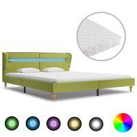 vidaXL Cama com LED e colchão 160x200 cm tecido verde