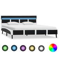 vidaXL Estrutura de cama com LED 140x200 cm couro artificial preto