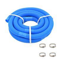 vidaXL Mangueira de piscina com braçadeiras azul 38 mm 6 m