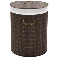 vidaXL Cesto oval para roupa suja bambu castanho escuro
