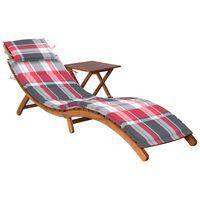 vidaXL Espreguiçadeira de jardim com mesa e almofadão acácia maciça