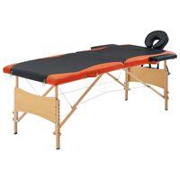 vidaXL Mesa de massagens dobrável 2 zonas madeira preto e laranja