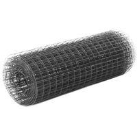 vidaXL Cerca arame galinheiro 25x0,5m aço c/ revestimento PVC cinzento