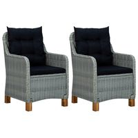 vidaXL Cadeiras de jardim c/ almofadões 2 pcs vime PE cinzento-claro