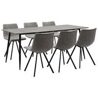 vidaXL 7 pcs conjunto de jantar couro artificial cinzento-claro