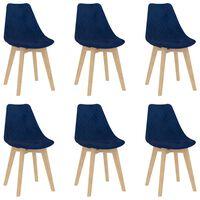 vidaXL Cadeiras de jantar 6 pcs veludo azul