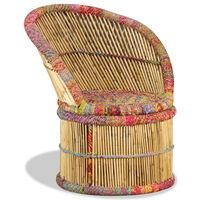vidaXL Cadeira de bambu com detalhes chindi