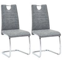 vidaXL Cadeiras de jantar 2 pcs couro artificial cinzento