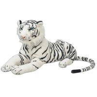 vidaXL Tigre de peluche, branco, XXL