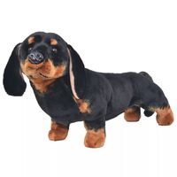vidaXL Brinquedo de montar cão salsicha peluche preto XXL