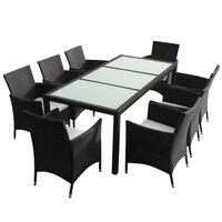 vidaXL 7 pcs conjunto jantar exterior com almofadões vime PE preto