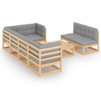 vidaXL 8 pcs conjunto lounge de jardim com almofadões pinho maciço