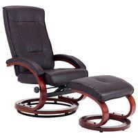 vidaXL Cadeira reclinável c/ apoio de pés couro artificial castanho