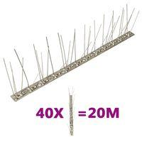 vidaXL Conjunto 40 picos pássaros e pombos 5 filas 20m aço inoxidável