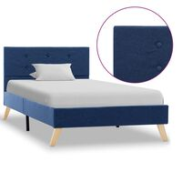 vidaXL Estrutura de cama 100x200 cm tecido azul