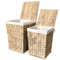 vidaXL Conjunto cestos para roupa suja 2 pcs jacinto de água