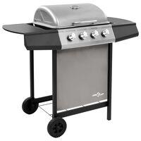 vidaXL Grelhador/barbecue a gás 4 discos preto e prateado