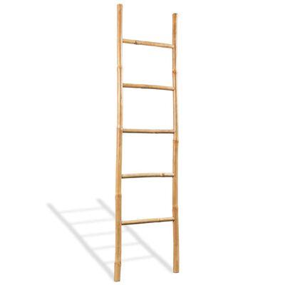 vidaXL Toalheiro escada com 5 degraus bambu 150 cm