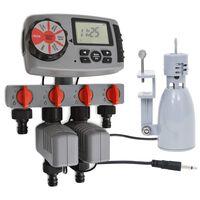 vidaXL Temporizador água autom. c/ 4 estações e sensor de chuva 3V