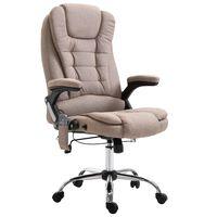 vidaXL Cadeira escritório massajadora cinzento-acastanhado poliéster