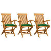 vidaXL Cadeiras de jardim c/ almofadões verdes 3 pcs teca maciça