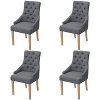 vidaXL Cadeiras de jantar 4 pcs tecido cinzento-escuro