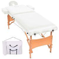 vidaXL Mesa de massagem dobrável de 2 zonas 10 cm espessura branco