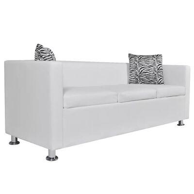 vidaXL Conjunto de sofás de 2 e 3 lugares couro artificial branco