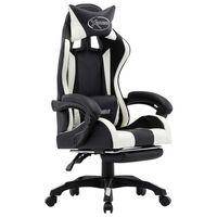 vidaXL Cadeira estilo corrida c/ apoio pés couro artif. branco/preto