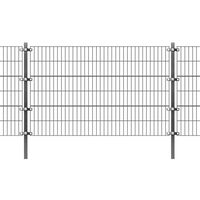 vidaXL Painel vedação c/ postes ferro revestido a pó 6x1,2 m antracite