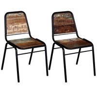 vidaXL Cadeiras de jantar 2 pcs madeira recuperada maciça