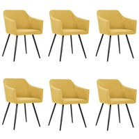 vidaXL Cadeiras de jantar 6 pcs tecido amarelo