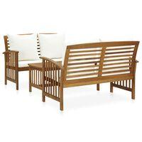 vidaXL 3 pcs conjunto lounge de jardim c/ almofadões acácia maciça