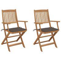 vidaXL Cadeiras de jardim dobráveis c/ almofadões 2 pcs acácia maciça