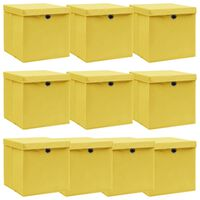 vidaXL Caixas de arrumação com tampas 10 pcs 32x32x32cm tecido amarelo