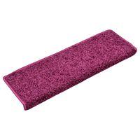 vidaXL Tapete/carpete para degraus 15 pcs 65x25 cm violeta