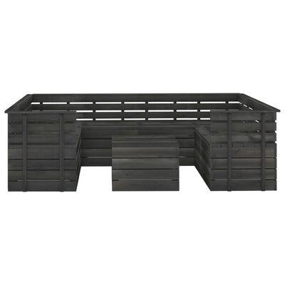 vidaXL 9 pcs conj. lounge de paletes jardim pinho maciço cinza-escuro