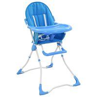 vidaXL Cadeira de refeição para bebé azul e branco