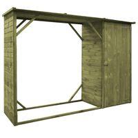 vidaXL Abrigo para arrumação lenha/ferramentas 253x80x170 cm pinho
