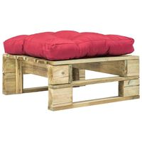 vidaXL Otomano de paletes com almofadão vermelho madeira verde