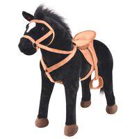 vidaXL Cavalo em peluche de montar preto