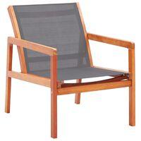 vidaXL Cadeira lounge de jardim eucalipto maciço e textilene cinzento