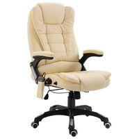 vidaXL Cadeira de escritório c/ função massagem couro artificial creme
