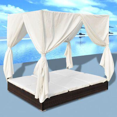 vidaXL Espreguiçadeira de exterior com cortinas vime PE castanho